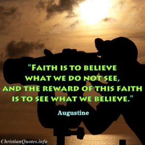 Augustine Christian Quote about Faith - man looking through through binoculars into ocean