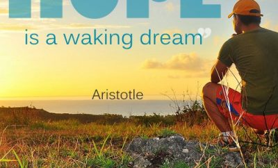 Aristotle Christian Quote - Hope - Man gazing over the sea