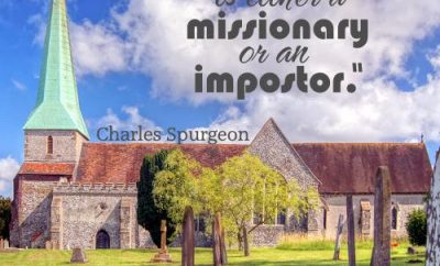 Charles Spurgeon Quote - Missionary or Imposter - church and cemetary