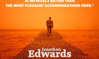 Jonathan Edwards Quote - Heaven Is Infinitely Better - Person walking towards sky
