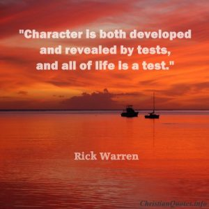 Rick Warren Christian Quote - Character - orange sunset over ocean with ships