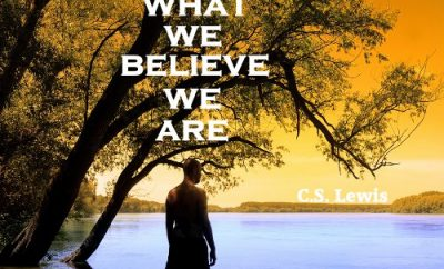 C.S. Lewis Quote - Who We Are - man looking over water