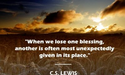 C.S. Lewis Quote - Blessings - field and sunset