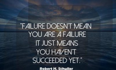 Robert H Schuller Quote - Failure - sunset over water