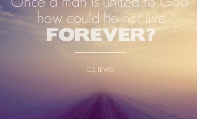 C.S. Lewis Christian Quote - Living Forever - foggy road