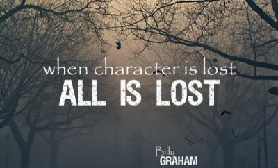 Billy Graham Christian Quote - Character - fog and trees