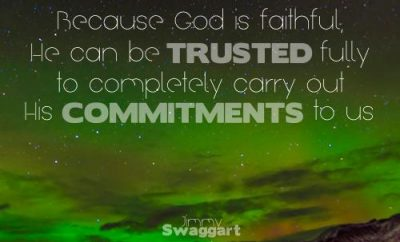 Jimmy Swaggart Quote - Christ's Commitments to Us - northern lights above mountains