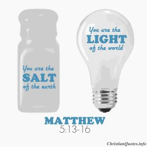 Matthew 5:13-16 - salt of earth, light of world - salt shaker and light bulb