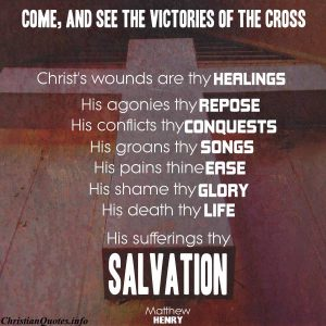 Matthew Henry Quote - Victories of the Cross - wood cross