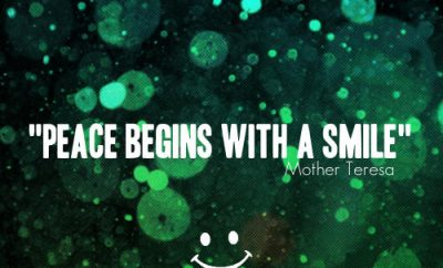 "Mother Teresa Quote - ""Peace begins with a smile."""