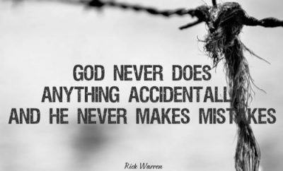 "Rick Warren Quote - ""God never does anything accidentally, and he never makes mistakes."""