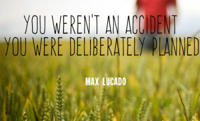 "Max Lucado Quote - ""You weren't an accident, You were deliberately planned"""