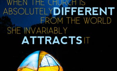 "Martyn Lloyd-Jones Quote - ""The glory of the gospel is that when the church is absolutely different from the world, she invariably attracts it."""