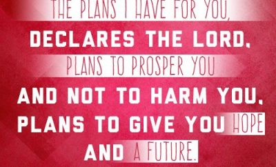 """For I know the plans I have for you,"" declares the LORD, ""plans to prosper you and not to harm you, plans to give you hope and a future."""