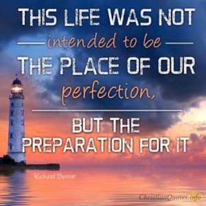 """This life was not intended to be the place of our perfection, but the preparation for it"""
