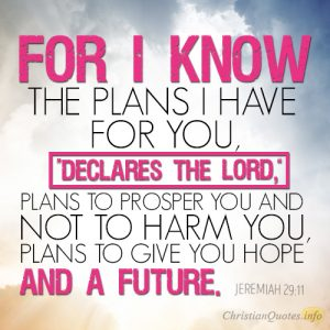 "For I know the plans I have for you,"" declares the LORD, ""plans to prosper you and not to harm you, plans to give you hope and a future"