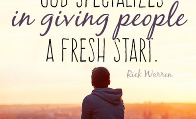God specializes in giving people a fresh start