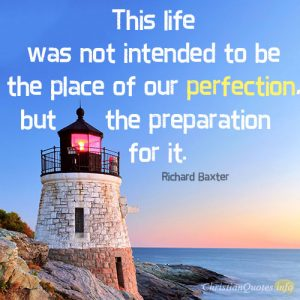 This life was not intended to be the place of our perfection, but the preparation for it.