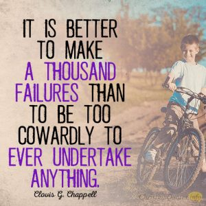 It is better to make a thousand failures than to be too cowardly to ever undertake anything