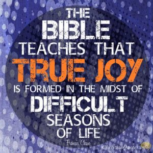 "Francis Chan Quote - ""The Bible teaches that true joy is formed in the midst of the difficult seasons of life."""