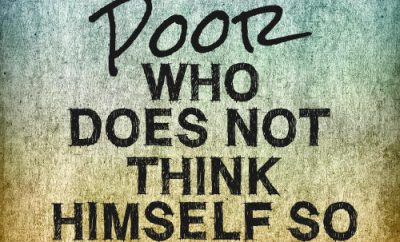 "Jeremy Taylor Quote - ""No man is poor who does not think himself so."""