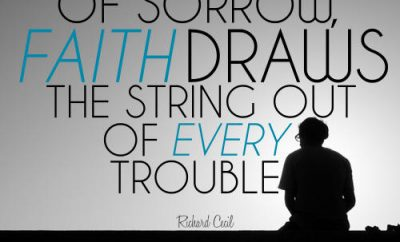 "Richard Cecil Quote - ""In the midst of sorrow, faith draws the sting out of every trouble"""